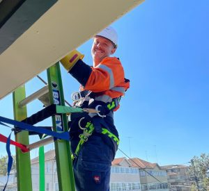 level 2 electrician on ladder